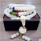 Natural white jade bodhi root bracelet with a lotus flower style hand string Men's and women's style