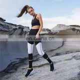 New sexy women exercise fitness practice White stripes fashion casual high waist leggings