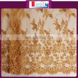 beautiful design of embroidered beaded tulle fabric for wedding and party