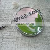 Zinc alloy metal compact mirror with beautiful design