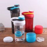 New product wide mouth double layer tritan shaker water bottle with plastic ball blender