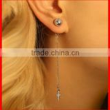 high quality 925 sterling silver stud ball with long chain cross women earring