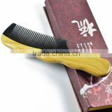 No Static Black Buffalo Horn Comb with Sandalwood Handle