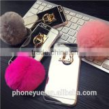luxury metal rope mirror mobile phone accessories fur phone case for iphone