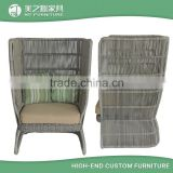 2016 new unique customized design high back resin wicker outdoor rattan chair with optional cushions