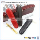 2016 creative violin style mini genuine leather single fountain pen holder with zipper close