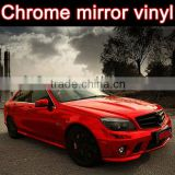 Chrome red vinyl car wrap 1.52*30m air channels