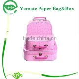 high quality pink customized printed paper carton nested children toys small suitcase gift box