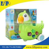 B/O cartoon musical parrot toy with window box