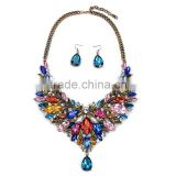 4 Colors Jewelry Set Necklace Matching Earring Luxury High End Alloy Diamond Necklace N5512