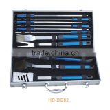 Non-stick stainless steel BBQ tool set in aluminum case from barbecue accessories factory