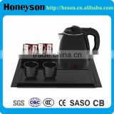 hotel room amenity stainless steel hospitality electric water kettle and welcome teapot tray tea set