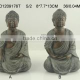 2/s Hand carved stone finish buddha statue.
