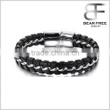 Men's Magnetic Buckle Stainless Steel Genuine Leather Rope Bracelet Braided Cuff Bangle Silver Black