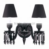 hot sale crystal bedside lamps,bedside lamps with shade .chandelier lamp shade baccarat wall lamp . black color
