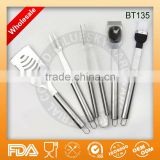 Wholesale 5pcs stainless steel bbq cooking tools set BT135,High-end polish