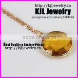 KJL-A0394 Crystal yellow glass beads necklace,faceted bezel quartz stone gold chain necklace jewelry