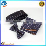 New Arrival Korean Style Vintage Silk Tie Pocket Square And Bowtie Set                                                                         Quality Choice