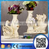 Hot selling handmade designs resin peacock flower vase stand for home and hotel decoration gift