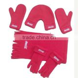 fashion custom printing red winter soft antipilling polar fleece scarf glove and hat set