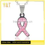 Stainless Steel Pink Crystal Woman Breast Cancer Awareness Ribbon PendantS NecklaceS with Chains(YC-006)