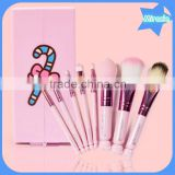 New arrival! 8pcs hello kitty makeup brushes professional pink plastic handle synthetic hair makeup brush set with mirror