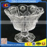 peacock tail design clear ice cream glass bowl