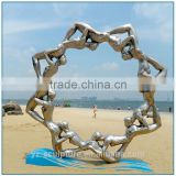 Outdoor Kinetic Large Stainless Steel Nude Woman Circle Sculpture