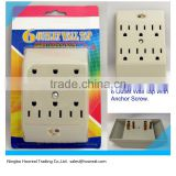 6 Outlets Ground Surge Protector Indoor AC Power Wall Tap With Anchor Screw UL Grounding Power Adapter White