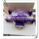 China supplier animal head cushion/plush cow toy cushion/purple cushion