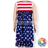 Hot Sale 4th Of July Girls Boutique American Flag Outfits Children Summer Sleeveless Cotton Clothes Baby Clothing Set Wholesale