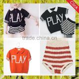 Custom kids embroidered knitted polo t shirt and shorts wholesale children's boutique clothing sets for infant boys and girls