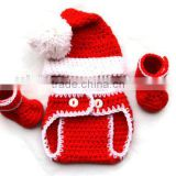 Infant baby diaper cover christmas clothes set hat with bloomer and shoes baby christmas outfit