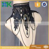 Party Queen pearl wide neck ornaments black lace necklace punk dress accessories false collar
