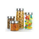 Houseware glass canisters with metal lids / clear glass kitchen canisters 2.1L 1.5L 1L 0.7L
