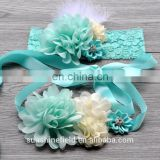 Lace Romper Prop Mint green Sashes Baby Girl Sash Belts Lace Headbands