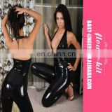 Hot Sale Sexy Deep V Neck Backless Vinyl Latex Catsuit For Women
