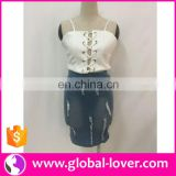 Lady fashion dress women two piece set white vest top and denim skirt