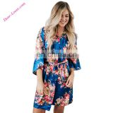 Wholesale Royal Blue Silky Floral Bath Robe For Women