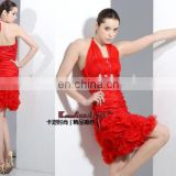 EM9011 Sexy sheath ruffle style with halter organza fabric evening dress bridesmaid gown