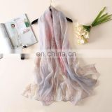 2017 spring breathable thin new simple design wool and silk blend scarf shawls in plain soft pastel color