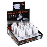 12 Pieces HAWEEL 2 USB Ports Max 3.1A Travel Charger Kit