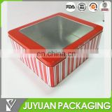 cute rectangle packaging tin box with clear window