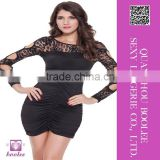 Latest popular hot fashion mini dress sexy clubwear openwork lace long sleeves black dress