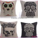 Soft Linen Cotton material Pillow case for car sofa home decor customized cushion cover case skull printed