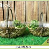 Natural material handmade basket with handle and plastic lining for gardening Decoration