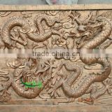 Bronze dragon with ball relief statue