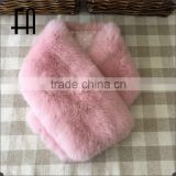 Factory direct wholesale price gilr's multi-color rex rabbit fur scarf with clip