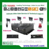 4 ch mobile dvr with dual sd card storge can be 2 x 128 GB max powerfull car black box function car accessory