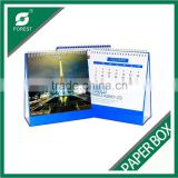 Offset printing 2015 New design spiral binding paper custom table calendar wholesale